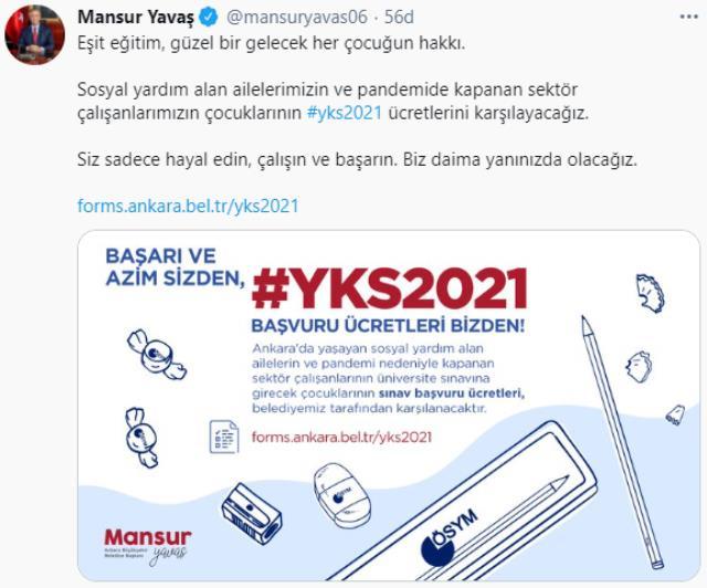 Mansur Yavaş'tan ihtiyaç sahiplerine bir müjde daha! YKS'ye girecek gençlerin sınav ücretlerini karşılanacak