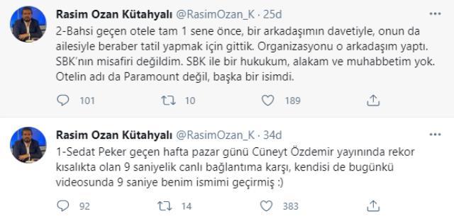 Rasim Ozan'dan Sedat Peker'in iddiasına yanıt: Bahsi geçen otele bir arkadaşımın davetiyle gittik, Sezgin Baran Korkmaz'ın misafiri değildim