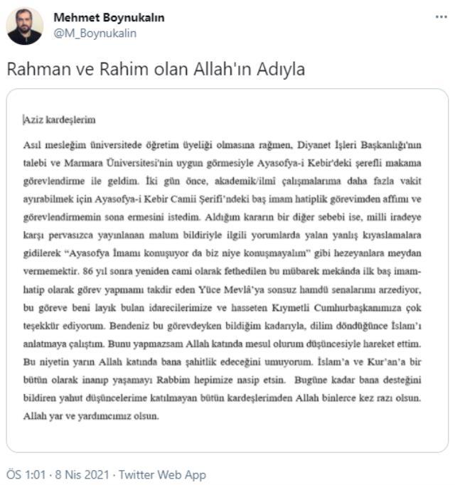 Son Dakika! Görevinden ayrılan Ayasofya İmamı Mehmet Boynukalın'dan ilk açıklama: Malum bildiriyle ilgili hezeyanlara meydan vermek istemedim