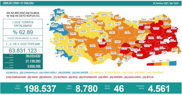 Son Dakika: Türkiye'de 20 Temmuz günü koronavirüs nedeniyle 46 kişi vefat etti, 8 bin 780 yeni vaka tespit edildi