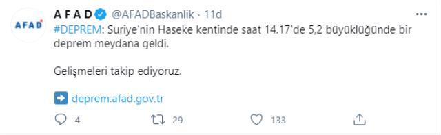 Suriye'nin Al-Hasakah kentinde 5.2 büyüklüğünde deprem! Diyarbakır, Mardin ve Batman'da da hissedildi